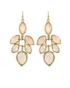 """Jeanine Dangle Earrings in Petal $75.00 A variation of lustrous marquise and teardrop stones weightlessly hang from the ear. 14K Gold Plated Over Brass Size: 2.5""""L x 1""""W on earwire Stone: rose quartz, peach quartz (s)"""
