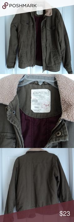 """Aeropostale Men's Coat Small Aeropostale Men's Coat. Size Small. Mid-weight coat. Tan/olive outer with maroon quilted lining. Used condition. 100% cotton. Zipper with snaps front with 2 exterior button flap chest pockets and 2 lower slash pockets. Tan fleece collar. Machine washable. It measures 21"""" from underarm to underarm, 25"""" in length from top of shoulder to bottom hem. Sleeve length 24.5"""". Pet free and smoke free home. Aeropostale Jackets & Coats"""