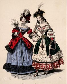 from a French publication, Petit Courrier des Dames, March 1837 Victorian Fancy Dress, Victorian Costume, Victorian Fashion, Victorian Halloween, Victorian Era, Mardi Gras Costumes, Masquerade Costumes, Holiday Costumes, Antique Clothing