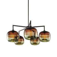 Quill 5 Modern Chandelier | NICHE MODERN: Each statement glass fixture is designed and hand-blown in their upstate New York factory. Niche Modern is proud of their ability to maintain keen oversight over the quality of each individual fixture. They offer a broad range of industrial-inspired fixture options from tabletop to chandeliers.