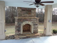Charlotte Outdoor Fireplace Photos, stone fireplace, covered patio
