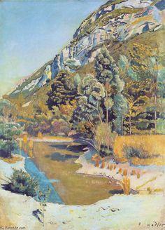 'Au pied du Petit Salève', huile sur toile de Ferdinand Hodler (1853-1918, Switzerland)