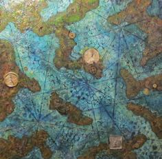 Where ? And when ? ... Encaustic on wood by Zuzana Medzay