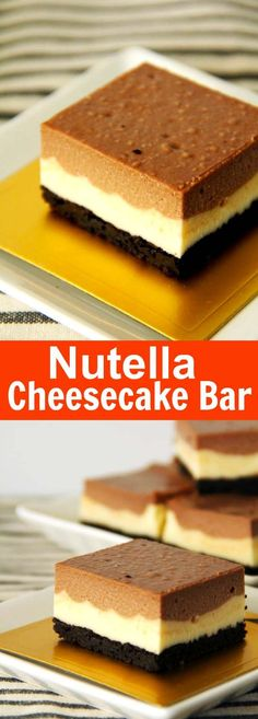 Nutella Cheesecake Bar - creamy and rich cheesecake bar loaded with Nutella and Oreo. To die for yummy. Just Desserts, Delicious Desserts, Dessert Recipes, Yummy Food, Bar Recipes, Nutella Cheesecake, Cheesecake Bars, Strawberry Cheesecake, Dark Chocolate Cakes