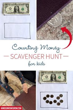 Simple scavenger hunt with a learning twist. Preschoolers can learn to count money while moving! Money Activities, Gross Motor Activities, Outdoor Activities For Kids, Hands On Activities, Preschool Activities, Fun Learning, Teaching Kids, Money Week, Scavenger Hunt For Kids