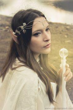 Sindar elven crown tiara bridal circlet in silver by CostureroReal: