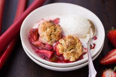 Strawberry Rhubarb Bourbon Cobbler with Ginger Oat Scones