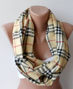 Oversize Plaid Pattern Circle Scarf Unisex by elegancescarf, $19.90