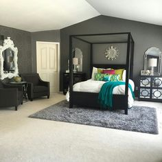 Modern Style Bedroom Design Ideas and Pictures. We offer a full range of modern bedroom furniture. Design your dream bedroom with a great selection of beds, armoires, dressers, headboards and accessories. Dream Bedroom, Home Bedroom, Bedroom Decor, Wall Colors For Bedroom, Wall Decor, Black Curtains Bedroom, Gray Bedroom Walls, Black Bedroom Furniture, Light Bedroom