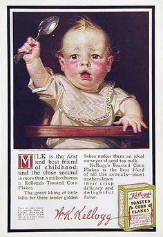 1916 Kellogg's Corn Flakes Ad ~ Baby with Spoon, Vintage Food Ads (Other) Vintage Tools, Vintage Ads, Vintage Items, Good Advertisements, Advertising, Jc Leyendecker, American Illustration, Corn Flakes, Old Ads