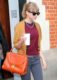 I love burgundy and mustard. The navy blue polka dot jeans are great. The pumpkin orange purse is a bit much.