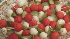 Watermelon, Tomatillo and Mozzarella Skewers with Lime-Honey Vinaigrette