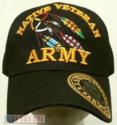 c070efa98fa U.s. army american indian native pride dream catcher feather veteran vet  cap hat