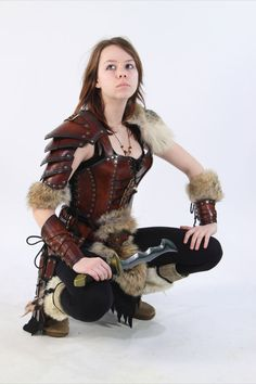 female leather armor barbarian by ~Lagueuse on deviantART