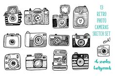 Hand drawn camera set +patterns by Hala on @creativemarket