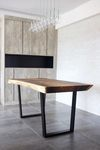 Suar Table with Tapered Black Powdercoated Legs  x Herman Furniture Singapore