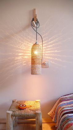 Natural raffia lamp with textile cable switch and por lacasadecoto, €59.00
