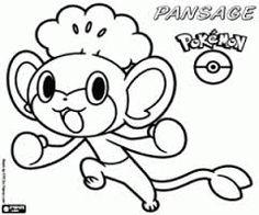 pokemon coloring pages pansage black - photo#13