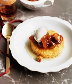 Australian Gourmet Traveller recipe for Semolina custard in kataifi with wild figs and Turkish apricots Savory Custard Recipe, Custard Recipes, Fig Recipes, Sweet Recipes, Dessert Recipes, Dessert Ideas, Unique Recipes, Cake Recipes, Gourmet