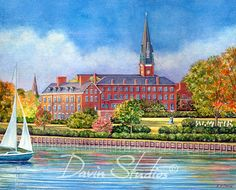 US Naval Academy Chapel, Annapolis, Maryland view of Ego Alley from Fleet Reserve Yacht Club-art print of original painting by Eleanor Davin