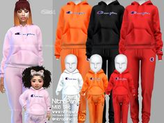 the sims 4 cc clothing shoes nike sims 4 cc // custom content clothing // Champion sweatsuit set Toddler Cc Sims 4, Sims 4 Toddler Clothes, Sims 4 Mods Clothes, Sims 4 Cc Kids Clothing, Mod Clothing, Toddler Games, Sims 4 Tsr, Sims Cc, Sims Mods
