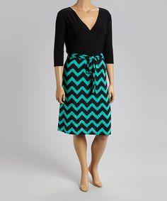 Look at this Star Vixen Jade & Black Chevron Surplice Dress - Plus on #zulily today!