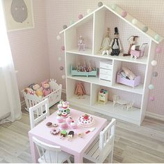 sweet is this play room set-up for a little girl? How sweet is this play room set-up for a little girl?How sweet is this play room set-up for a little girl? Toddler Rooms, Kids Rooms, Toddler Girl, Toddler Play Area, Room Kids, Small Rooms, Princess Room, Toy Rooms, Little Girl Rooms