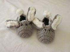 How to crochet children's bunny slippers / booties for beginners - YouTube