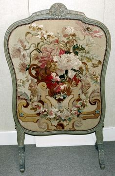 FRENCH CARVED WALNUT FIREPLACE SCREEN WITH AUBUSSON PANEL, 19TH CENTURY