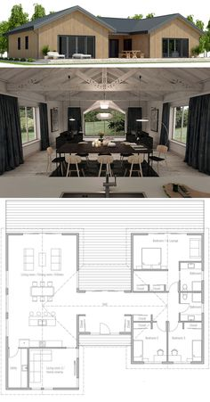 Small House Plan, New Home Designs, Floor Plan Small House Plan, New Home Designs, Floor Plan New House Plans, Dream House Plans, Modern House Plans, Small House Plans, House Floor Plans, Dog Trot Floor Plans, Dog Trot House Plans, Casas Containers, Single Story Homes