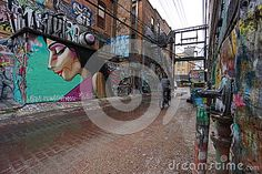 View of street art buildings located in art alley, Rapid City, South Dakota