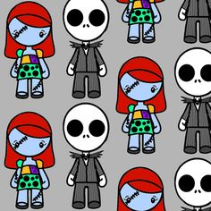 jack_and_sally_gray fabric by knittychick on Spoonflower - custom fabric