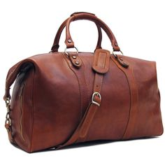 Amazon.com: Floto Roma Travel Bag Saddle Brown Italian Leather Weekender Duffle: Clothing