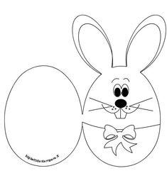 Pasqua - Biglietto con coniglio da colorare