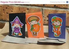 CIJ Sale Pack of Three Little Halloween Cards by JemLouProductions, $2.98