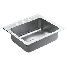"Commercial Stainless Steel 3 Hole Single Bowl 25"" x 22"" Drop-In Kitchen Sink with QuickMount Hardware"
