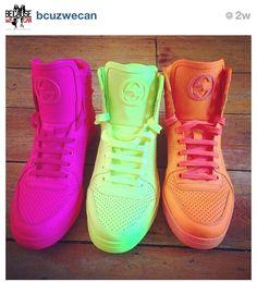 Need'em, want'em, gotsta' have'em....#gucci #sneakers #neon Beautifuls.com Members VIP Fashion Club 40-80% Off Luxury Fashion Brands