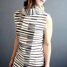 Modern Lovers – iheartfink Womens Handmade Sleeveless Stripes Mock Turtle Neck Top
