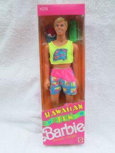 Mattel 1990 Hawaiian Fun Barbie Ken Doll Had him always thought his shirt was a little too short