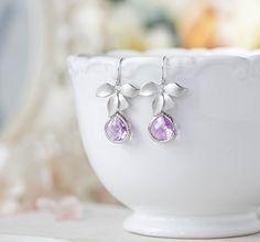 Lavender Earrings Purple Silver Orchid Flower Dangle by LeChaim