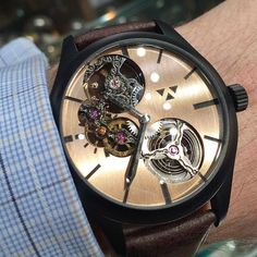 Lydian Skeleton with bronze dial and black super-luminova pigment housed in a black IP coated stainless steel case.