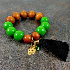 Wood Bracelet, Tassel Bracelet, Green, Statement Bracelet, Boho Bracelet, Bohemian, Chunky Bracelet, Big Bracelet, Beaded Bracelet, Stretch by Pilboxx on Etsy