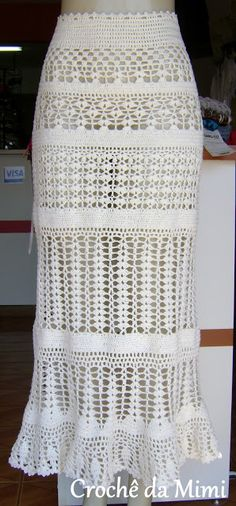 """Crochê da Mimi"": Saia Longa em Crochê Modelo Thais"