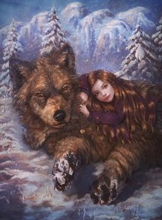 Nessie and her Wolf by PerlaMarina giant dire wolf cub girl child Twilight Saga… Twilight Edward, Twilight Jacob And Renesmee, Twilight Film, Twilight Saga Quotes, Saga Art, Beast Creature, Twilight Pictures, Dire Wolf, Fanart