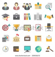 Set of modern flat vector icons suitable for business resume and the search of human resources for a company - stock vector