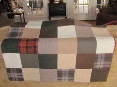 Wool Patchwork quilt,  recycled wool that has been felted, wool quilt, throw., via Etsy.