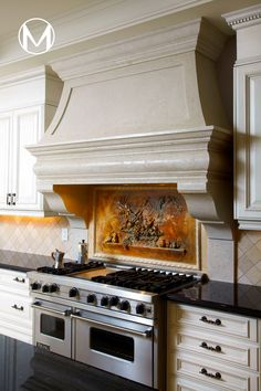 Browse through our vast portfolio of cast stone kitchen hoods and get inspired! Whichever style you fancy, rejoice, because cast stone can be moulded and customized according to your desires! #kitchen #kitchenhood #rangehood #mantel #stone #homedecor #farmhouse #aesthetic Kitchen Hood Design, Kitchen Hoods, Stone Kitchen, Stone Mantel, Fireplace Mantels, First Kitchen, Cast Stone, The Masterpiece, Living Room With Fireplace