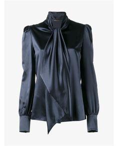 SAINT LAURENT Silk Pussy Bow Shirt. #saintlaurent #cloth #