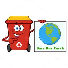 Red Recycle Bin Mascot Character   @creativework247
