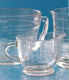 clear vintage Depression glass measuring cups